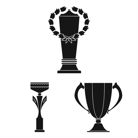 Gold Cup black icons in set collection for design. Winners Cup bitmap symbol stock web illustration.