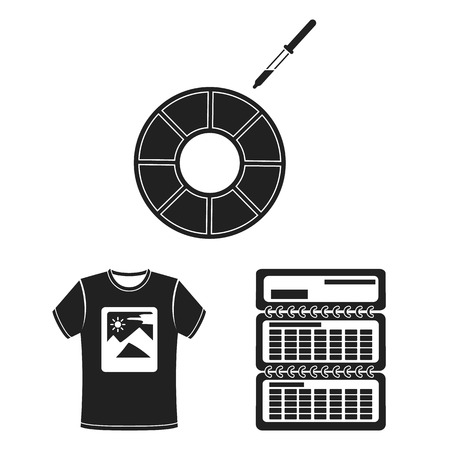 Typographical products black icons in set collection for design. Printing and equipment bitmap symbol stock web illustration. Imagens