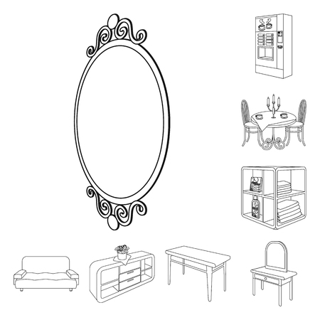 Furniture and interior outline icons in set collection for design. Home furnishings bitmap isometric symbol stock web illustration.