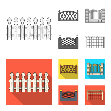 A fence of metal and bricks,wooden palisade. A different fence set collection icons in monochrome,flat style bitmap symbol stock illustration web. Stock Photo