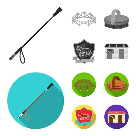 Aviary, whip, emblem, hippodrome .Hippodrome and horse set collection icons in monochrome,flat style bitmap symbol stock illustration web. Banco de Imagens