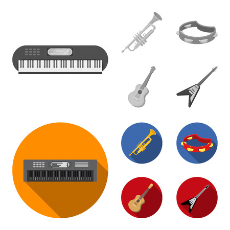Electro organ, trumpet, tambourine, string guitar. Musical instruments set collection icons in monochrome,flat style bitmap symbol stock illustration web.