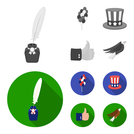 Balloons, inkwell with a pen, Uncle Sam hat. The patriot day set collection icons in monochrome,flat style bitmap symbol stock illustration web.