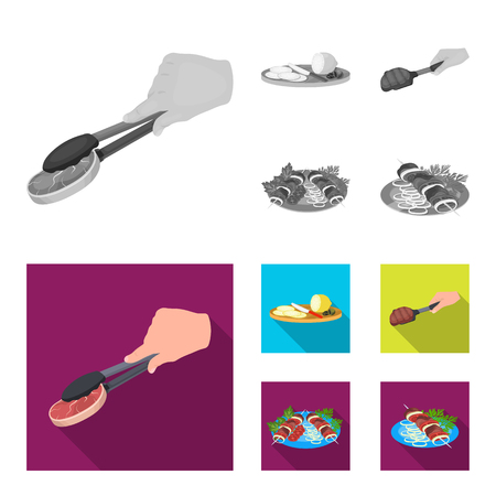 Tongs with steak, fried meat on a scoop, slicing lemon and olives, shish kebab on a plate with vegetables. Food and Cooking set collection icons in monochrome,flat style bitmap symbol stock illustration web.