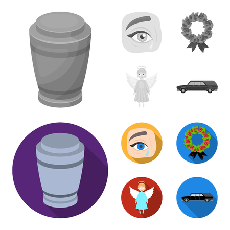 The urn with the ashes of the deceased, the tears of sorrow for the deceased at the funeral, the mourning wreath, the angel of death. Funeral ceremony set collection icons in monochrome,flat style bitmap symbol stock illustration web.
