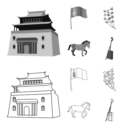 National flag, horse, musical instrument, steppe plant. Mongolia set collection icons in outline,monochrome style bitmap symbol stock illustration web.