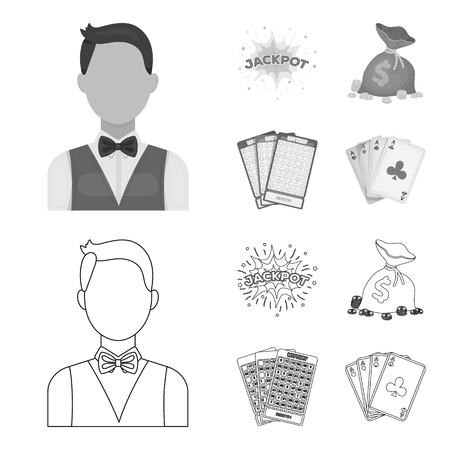 Jack sweat, a bag with money won, cards for playing Bingo, playing cards. Casino and gambling set collection icons in outline,monochrome style bitmap symbol stock illustration web. 写真素材