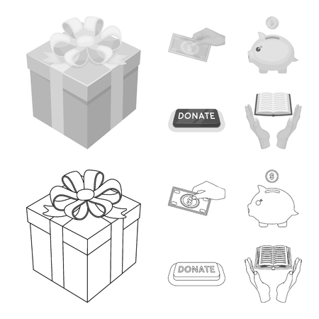 Hand with money for poshestvovaniya, a piggy bank for charity, a button with an inscription, a book for the blind in their hands. Charity and donation set collection icons in outline,monochrome style bitmap symbol stock illustration web. Stock Photo