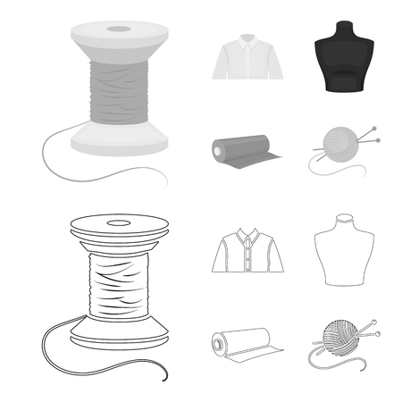 A man shirt, a mannequin, a roll of fabric, a ball of threads and knitting needles.Atelier set collection icons in outline,monochrome style bitmap symbol stock illustration web.