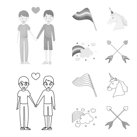 Flag, unicorn symbol, arrows with heart.Gay set collection icons in outline,monochrome style bitmap symbol stock illustration web.