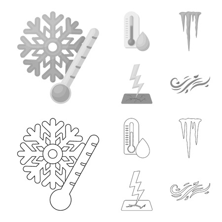 Humidity, icicles, thunderbolt, windy weather. Weather set collection icons in outline,monochrome style bitmap symbol stock illustration web. 스톡 콘텐츠