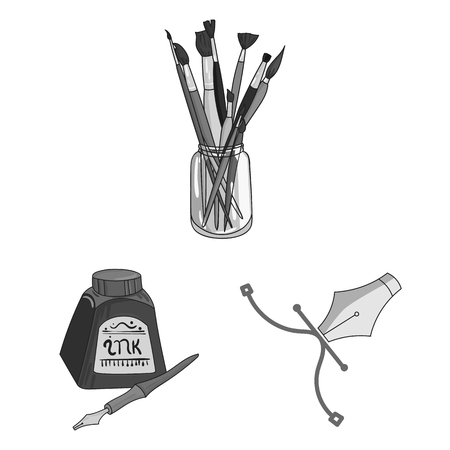 Painter and drawing monochrome icons in set collection for design. Artistic accessories vector symbol stock web illustration. Stock Illustratie