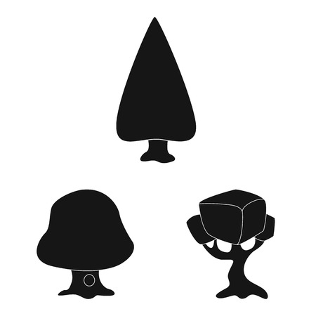 Isolated object of tree and nature logo. Collection of tree and crown vector icon for stock. Vettoriali