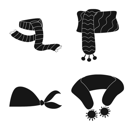 Isolated object of scarf and shawl icon. Collection of scarf and accessory stock symbol for web.