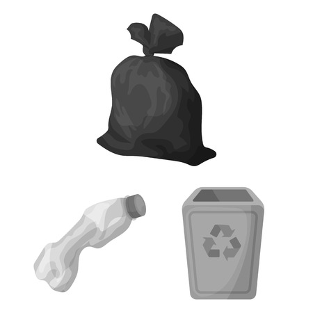 Garbage and waste monochrome icons in set collection for design. Cleaning garbage vector symbol stock web illustration.