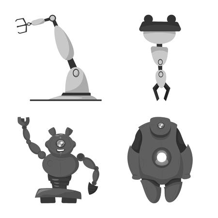 Diseño vectorial de robot y logotipo de fábrica. Colección de robot y símbolo de stock espacial para web.
