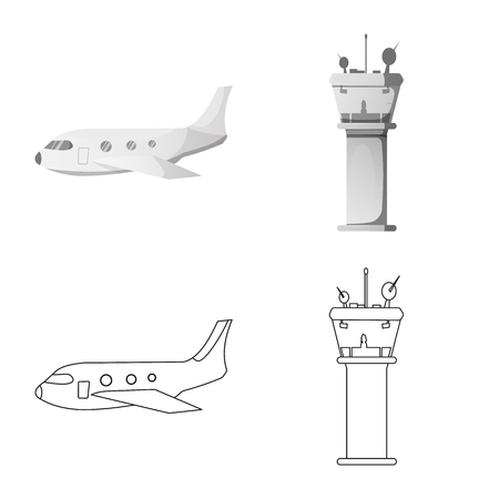 Isolated object of airport and airplane logo. Collection of airport and plane stock symbol for web.
