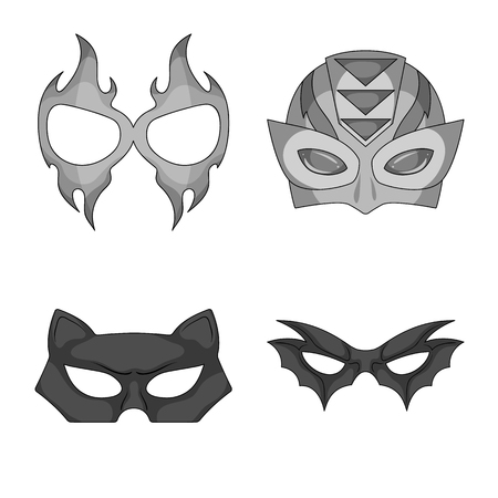 Vector design of hero and mask icon. Set of hero and superhero stock vector illustration.