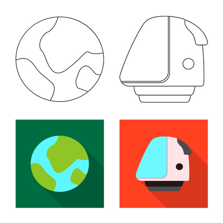 Vector design of mars and space icon. Set of mars and planet stock vector illustration.