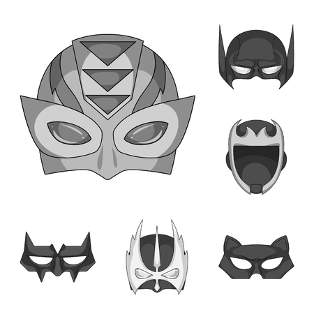 Vector illustration of hero and mask symbol. Set of hero and superhero stock symbol for web.
