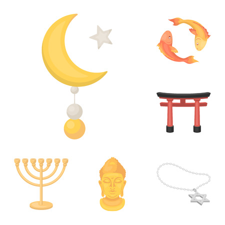 Religion and belief cartoon icons in set collection for design. Accessories, prayer vector symbol stock web illustration.