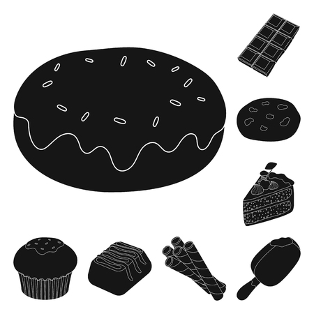 Chocolate Dessert black icons in set collection for design. Chocolate and Sweets vector symbol stock web illustration.