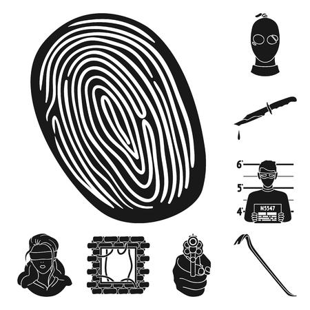 Crime et punition icônes noires dans la collection de jeu pour la conception.Illustration de stock web symbole vecteur criminel.