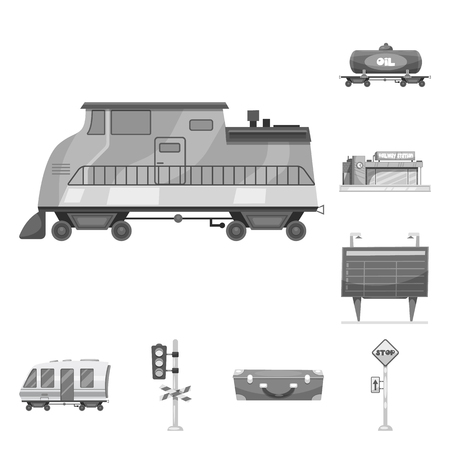 Vector illustration of train and station icon. Collection of train and ticket stock vector illustration. Illustration