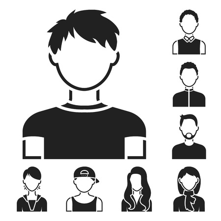 Avatar and face black icons in set collection for design. A person s appearance vector symbol stock web illustration. Illustration