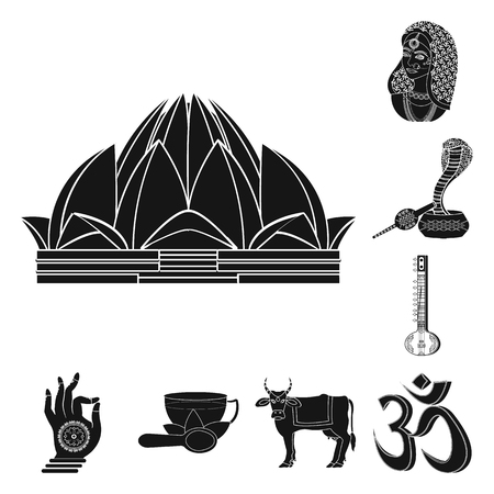 Country India black icons in set collection for design.India and landmark vector symbol stock web illustration.