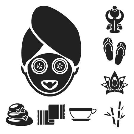 Salon de spa et équipement d'icônes noires dans la collection de jeux pour la conception. Détente et repos symbole vecteur illustration web stock. Vecteurs