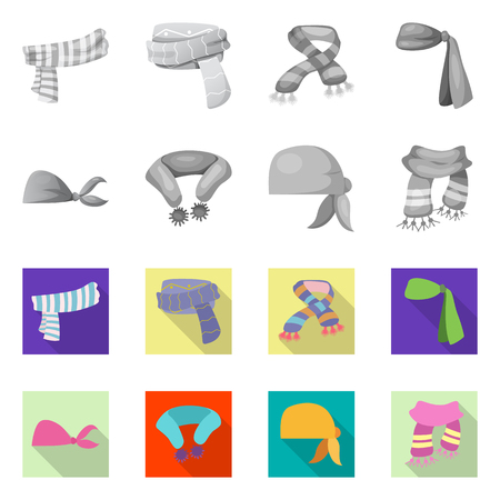 Isolated object of scarf and shawl sign. Collection of scarf and accessory vector icon for stock.