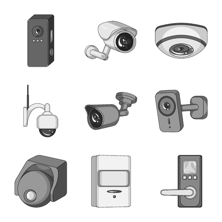 Isolated object of cctv and camera symbol. Set of cctv and system stock vector illustration.