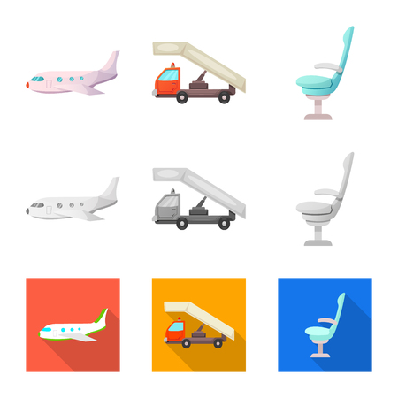 Vector design of airport and airplane icon. Set of airport and plane stock symbol for web. Illustration