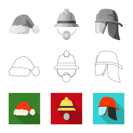 Vector design of headgear and cap logo. Set of headgear and accessory stock symbol for web. Ilustrace