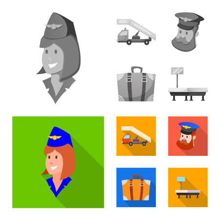 Isolated object of airport and airplane icon. Collection of airport and plane stock vector illustration. Vectores