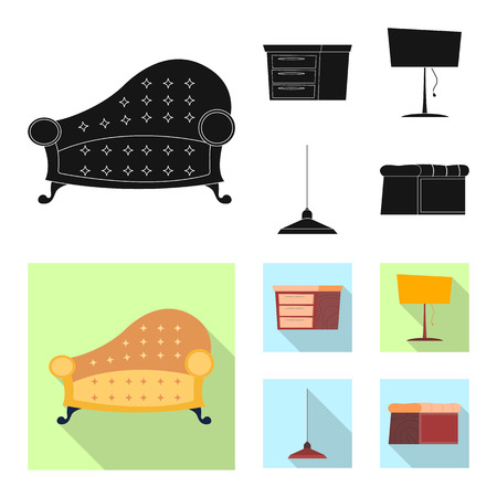 Vector design of furniture and apartment logo. Collection of furniture and home stock vector illustration.  イラスト・ベクター素材