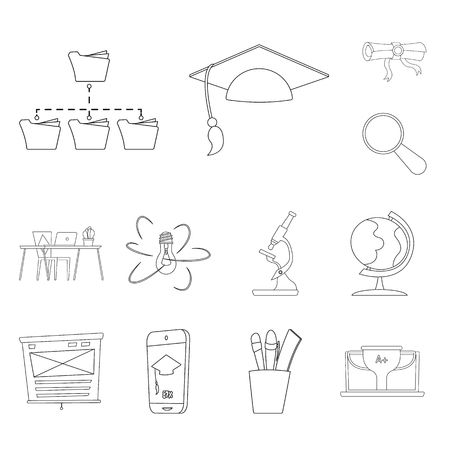 Isolated object of education and learning sign. Collection of education and school stock symbol for web. Illustration
