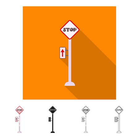 Vector illustration of train and station sign. Collection of train and ticket stock symbol for web.