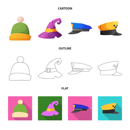 Vector design of headgear and cap logo. Set of headgear and accessory stock vector illustration. Stock Illustratie