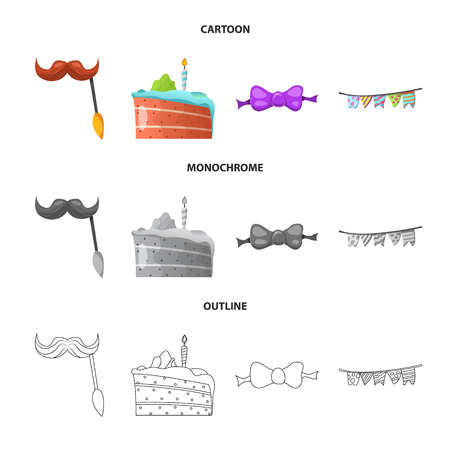 Vector design of party and birthday logo. Set of party and celebration vector icon for stock.