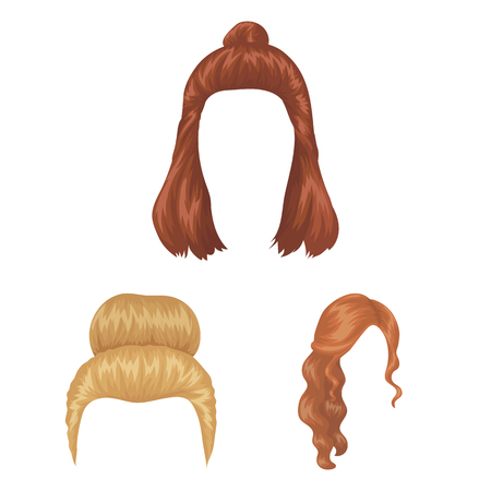 Female hairstyle cartoon icons in set collection for design. Stylish haircut bitmap symbol stock  illustration.