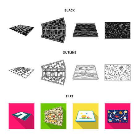 Board game black,flat,outline icons in set collection for design. Game and entertainment bitmap symbol stock web illustration. Banco de Imagens
