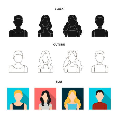 Girl with long hair, blond, curly, gray-haired man.Avatar set collection icons in black,flat,outline style bitmap symbol stock illustration web.
