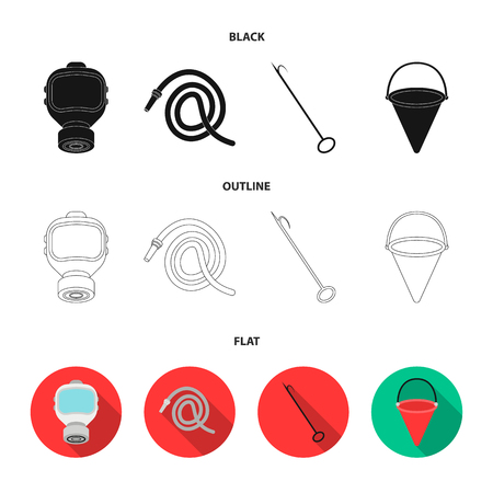 Gas mask, hose, bucket, bagore. Fire department set collection icons in black,flat,outline style bitmap symbol stock illustration web.