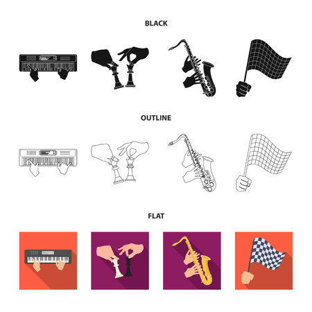 Playing on an electric musical instrument, manipulation with chess pieces and other web icon in black,flat,outline style. playing on a gold saxophone, checkered flag of auto racing in hand icons in set collection. Standard-Bild