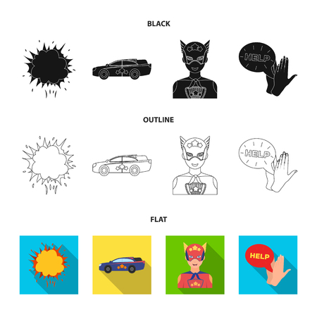 Explosion, fire, smoke and other web icon in black,flat,outline style. superforce, cry, icons in set collection.