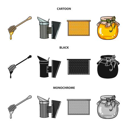 A frame with honeycombs, a ladle of honey, a fumigator from bees, a jar of honey.Apiary set collection icons in cartoon,black,monochrome style bitmap symbol stock illustration web.