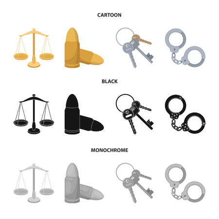 Scales of justice, cartridges, a bunch of keys, handcuffs.Prison set collection icons in cartoon,black,monochrome style bitmap symbol stock illustration web.