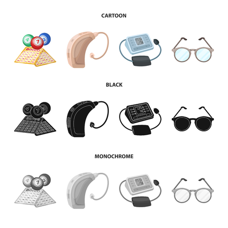 Lottery, hearing aid, tonometer, glasses.Old age set collection icons in cartoon,black,monochrome style bitmap symbol stock illustration web. Stock Photo